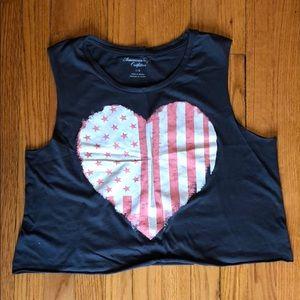 Heart-flag crop top